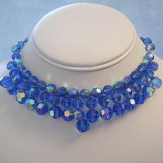 1970's MAJESTIC Cobalt Sparkling Dangling Crystals Fringe Necklace