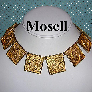 1970's MOSELL Magnificent Bold Egyptian Revival High End Statement Necklace