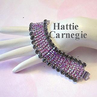 1960's HATTIE CARNEGIE Captivating COUTURE Red Raspberry AB Rhinestones Rarely Seen WIDE Bracelet
