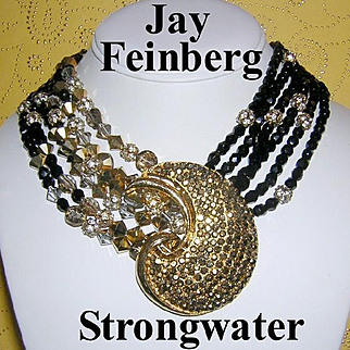 1980's JAY FEINBERG / STRONGWATER Show Stopping Couture Rhinestone & Crystal Dramatic Bib Festoon Statement Necklace