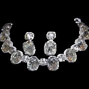 1960's RUNWAY Huge Brilliant BOLD Oval Headlight Rhinestones Necklace & Dangle Earrings