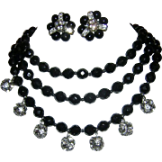 1960's SULTRY 3 Strand Faceted Opaque Ebony Crystals / Glass & Rhinestone Studded Balls Bib Necklace + Earrings