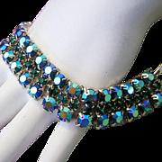 1960's Tantalizing TEAL Beyond Brilliant Rhinestones Bracelet