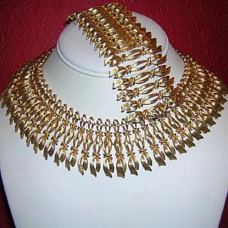 1960's Egyptian Revival CLEOPATRA Wide Wonderful Collar Necklace & Bracelet