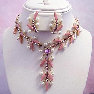 1960's EXQUISITE RUNWAY Pink Slim Navette & BRILLIANT Pink Rhinestones Necklace & Earrings