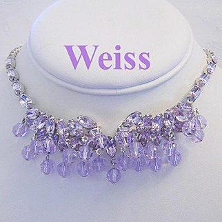WEISS COLOR CHANGING Lavender / Periwinkle Rhinestone and Crystal Necklace