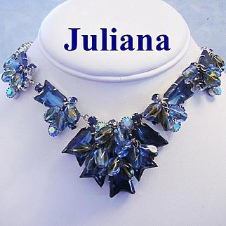 JULIANA Scarce ARROW Design Rhinestones & Art Glass Book Piece Necklace
