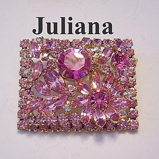 JULIANA Decadent Shimmering Pink Rhinestones SQUARE Pin / Brooch