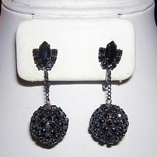 1960's Sparkling SULTRY JET Black Rhinestone Studded Dangle Earrings