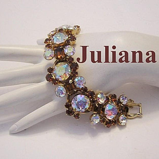 JULIANA Bold Beautiful HEADLIGHT Rhinestones Bracelet Book Piece