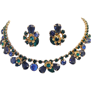 1960's Impressive PEACOCK Color Rhinestones Detailed Necklace & Earrings