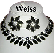 WEISS DRAMATIC Jet Black Marquise & Rhinestones Necklace & Earrings