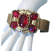 1920's VICTORIAN REVIVAL Ravishing RED Bold Beautiful Bracelet