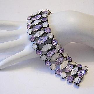 1960's Luscious LAVENDER Color Changing & Givre Rhinestones WIDE Bracelet