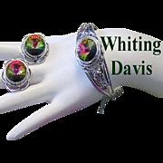 WHITING & DAVIS Mesmerizing WATERMELON Rhinestone Ornate Hinged Cuff BRACELET & Earrings