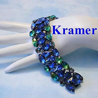 KRAMER Killer Cobalt & Two Tone Givre RHINESTONES Bracelet