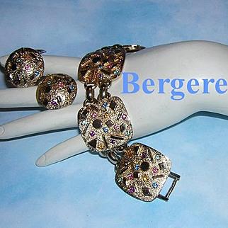 1960's BERGERE Beautiful Colorful Rhinestones ORNATE High End Bracelet and Earrings