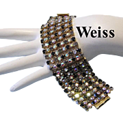 WEISS 1 1/2 Inch WIDE Sparkling COLORED Rhinestones Rarely Seen Bracelet