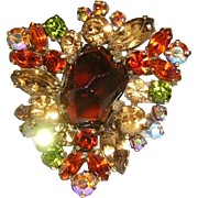 WEISS Book Piece LUSCIOUS Color Rhinestones Fabulous Pin / Brooch