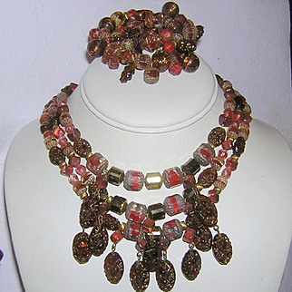 1940's CARVED Glass & ART Glass 3 Strand Necklace & Coiled CUFF Bracelet