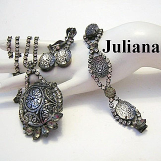 JULIANA Mirrored Mosaic Glass & Rhinestone Necklace Bracelet & Earrings Parure--Scarce