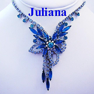 JULIANA JAW DROPPING Color Rhinestones Dimensional BOOK Piece Necklace