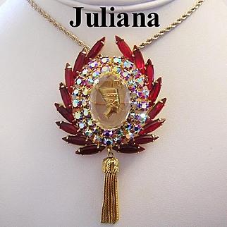JULIANA Impossible to Find Siam RED Queen NEFERTITI Book Piece Pin / Necklace / Pendant