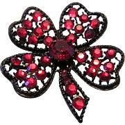 WEISS RED Rhinestone HEARTS & 4 Leaf Clover Figural Pin / Brooch Scarce Book Piece
