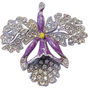 1920's Paste RHINESTONE Studded ORCHID Flower Figural Pin