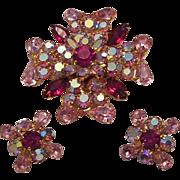 CAPTIVATING Hot Pink & Pink BRILLIANT Rhinestones Designer Pin & Earrings