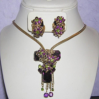 1950's Purple / Amethyst & Green SUFFRAGE Color Rhinestones Ornate Designer Necklace & Earrings