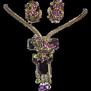1950's Purple / Amethyst & Green SUFFRAGE Color Rhinestones Ornate Designer Necklace & Earrings