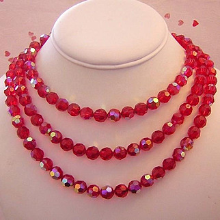 1960's ALICE CAVINESS Red Crystal 3 Strand Strung On CHAIN Bib Necklace