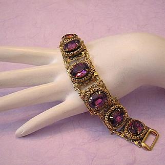 1960's VICTORIAN Revival Ornate BOLD Amethyst Rhinestone Bracelet