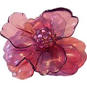 Fabulous HUGE Dimensional Cellulose Acetate RHINESTONE Flower Pin/ Brooch