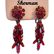 SHERMAN Sizzling RED Navette & Rhinestone Dangle Earrings