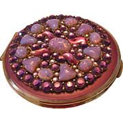 1960's Large JEWELED & Art Glass Mirrored Compact