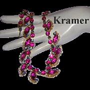 KRAMER Killer Hot Pink / Fuchsia Rhinestones Rarely Seen Necklace