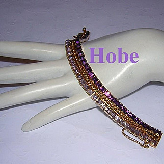 HOBE Shimmering SQUARE Channel Set Shades Of Purple Rhinestones Bracelet
