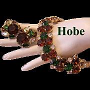 1960's HOBE Bold Beautiful Rhinestone BRACELET & Earrings