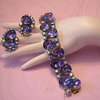 1960's DRAMATIC RUNWAY Bi-Color Purple Rhinestone BOLD Bracelet & Earrings