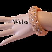 WEISS Signed PEACH & Rhinestones Thermoset Clamper Bracelet