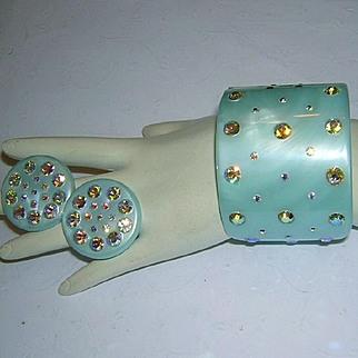 2 Inch WIDE AQUA & Rhinestones CLAMPER Bracelet & Earrings