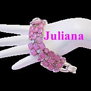 JULIANA Dynamic PINK Rhinestones & Art Glass Superb Book Piece Bracelet