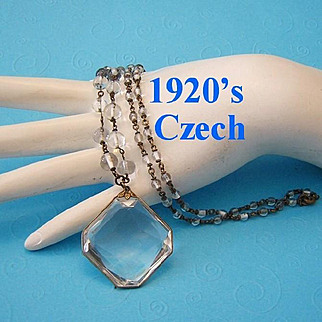 1920's CZECH Signed ROCK CRYSTAL Matinee Length Necklace