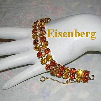 EISENBERG Amber & Citrine Rhinestones With Ribbon Icing Hard To Find Bracelet