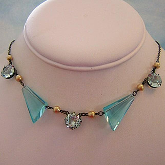 Circa 1910 Unique AQUAMARINE Amazing Glass & Rhinestone Necklace