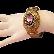 1940's VICTORIAN Revival Purple Rhinestone Hinged Cuff Brass Bracelet