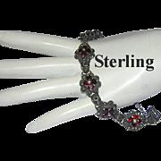 1970's GARNET, Marcasite & STERLING Silver Bracelet