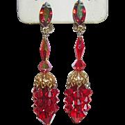 1960's Luscious Lewis Segal RED Crystal & Rhinestone Long Chandelier Earrings